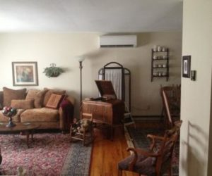 ductless heating system in living room